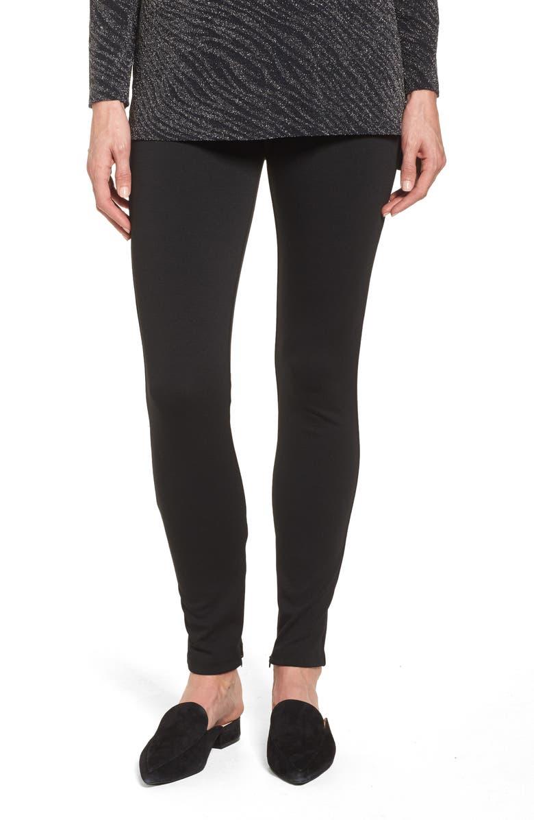CHAUS Zip Ankle Ponte Knit Leggings, Main, color, RICH BLACK