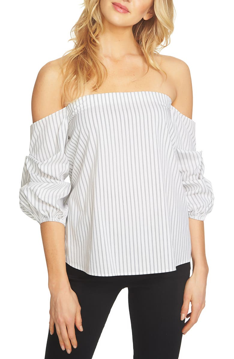 1.STATE Off the Shoulder Stretch Cotton Blouse, Main, color, 010