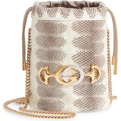 Gucci Minigenuine Snakeskin Bucket Bag - Beige