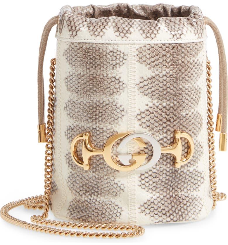 GUCCI Mini Zumi Genuine Snakeskin Bucket Bag, Main, color, ROCK/ GREYHOUND