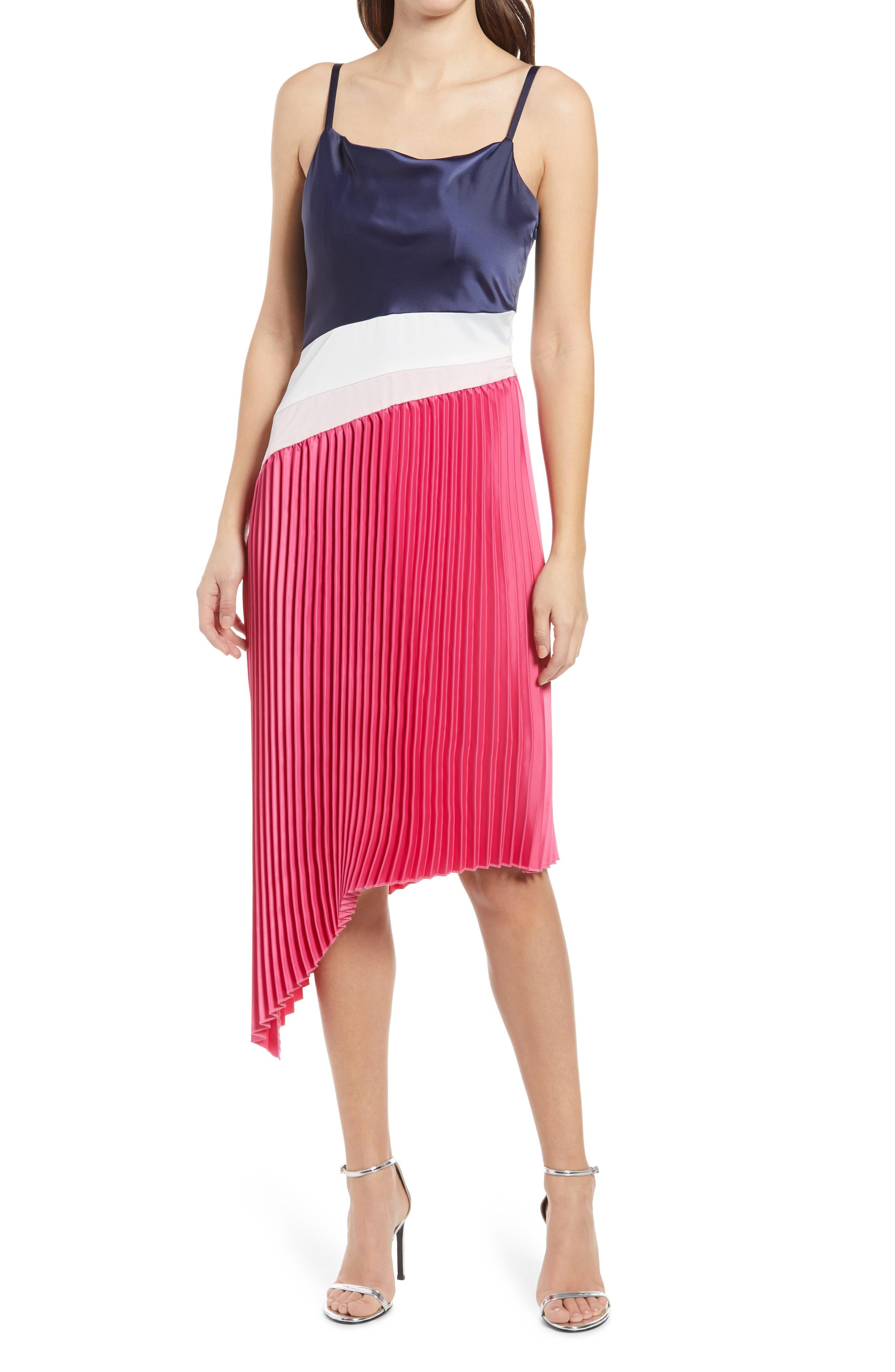 Davina Colorblock Pleated Dress