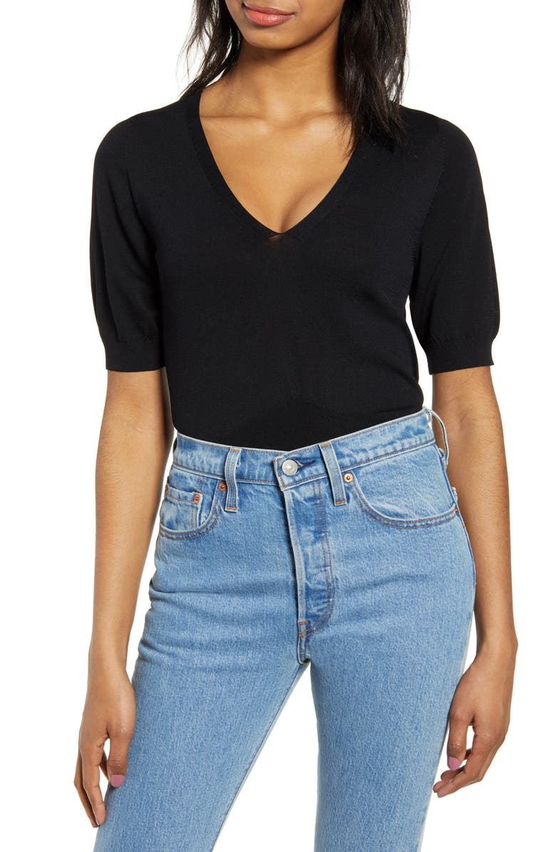 LEITH Summer Time Puff Sleeve Sweater, Main, color, BLACK