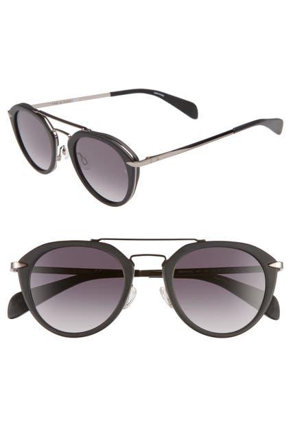 Image of Rag & Bone 49mm Round Aviator Sunglasses