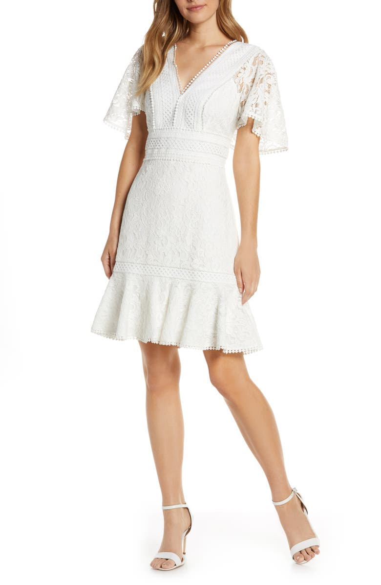 ELIZA J Flounce Lace Dress, Main, color, IVORY
