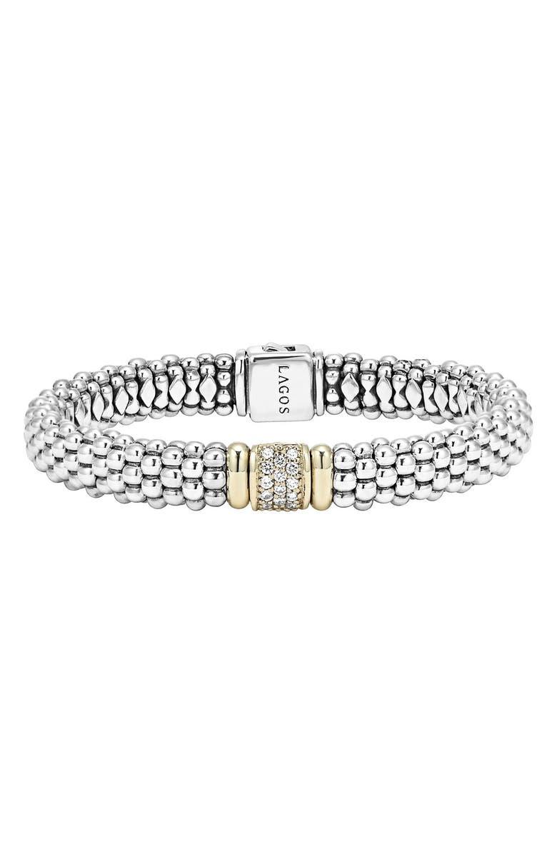 LAGOS Diamond & Caviar Station Bracelet, Main, color, STERLING SILVER/ GOLD