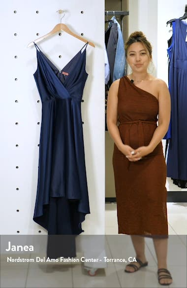Katherine Surplice High/Low Satin Gown, sales video thumbnail
