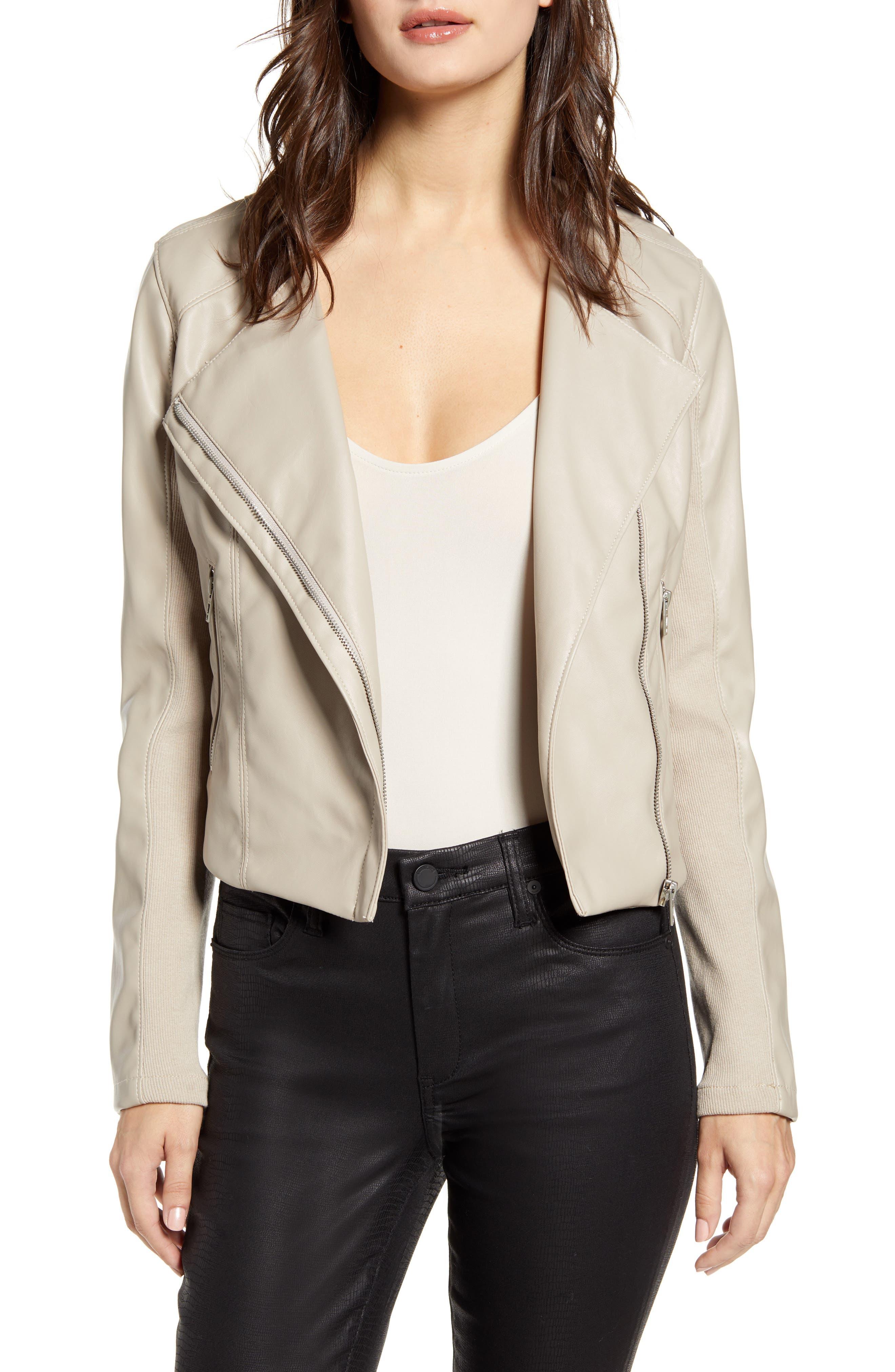 BLANKNYC Record Breaker Collarless Faux Leather Moto Jacket (Regular & Plus Size)