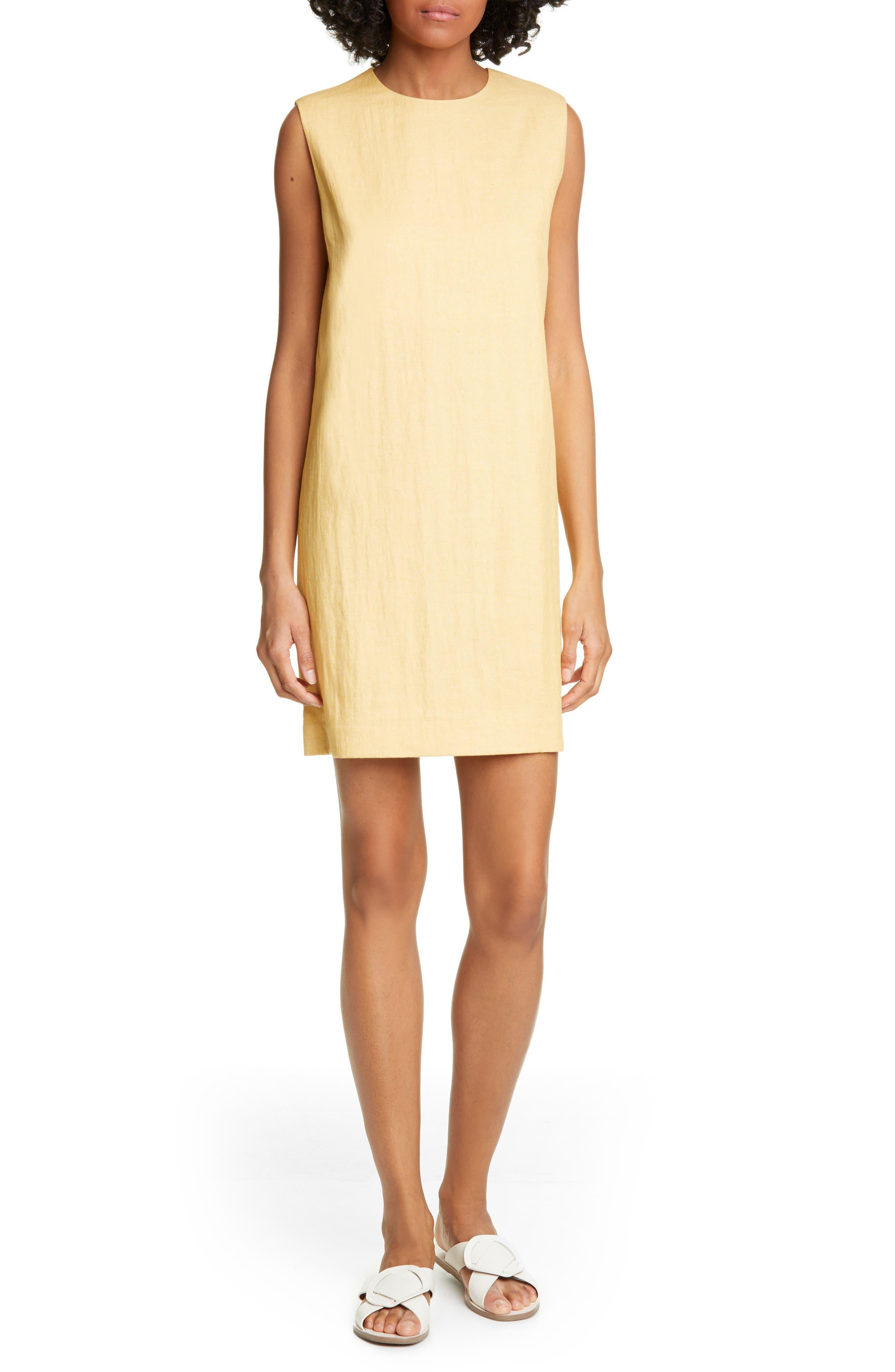 Theory Luxe Linen Blend Column Shift Dress, Yellow