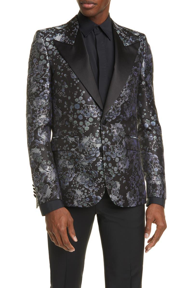 GIVENCHY Silk Brocade Dinner Jacket, Main, color, BLACK