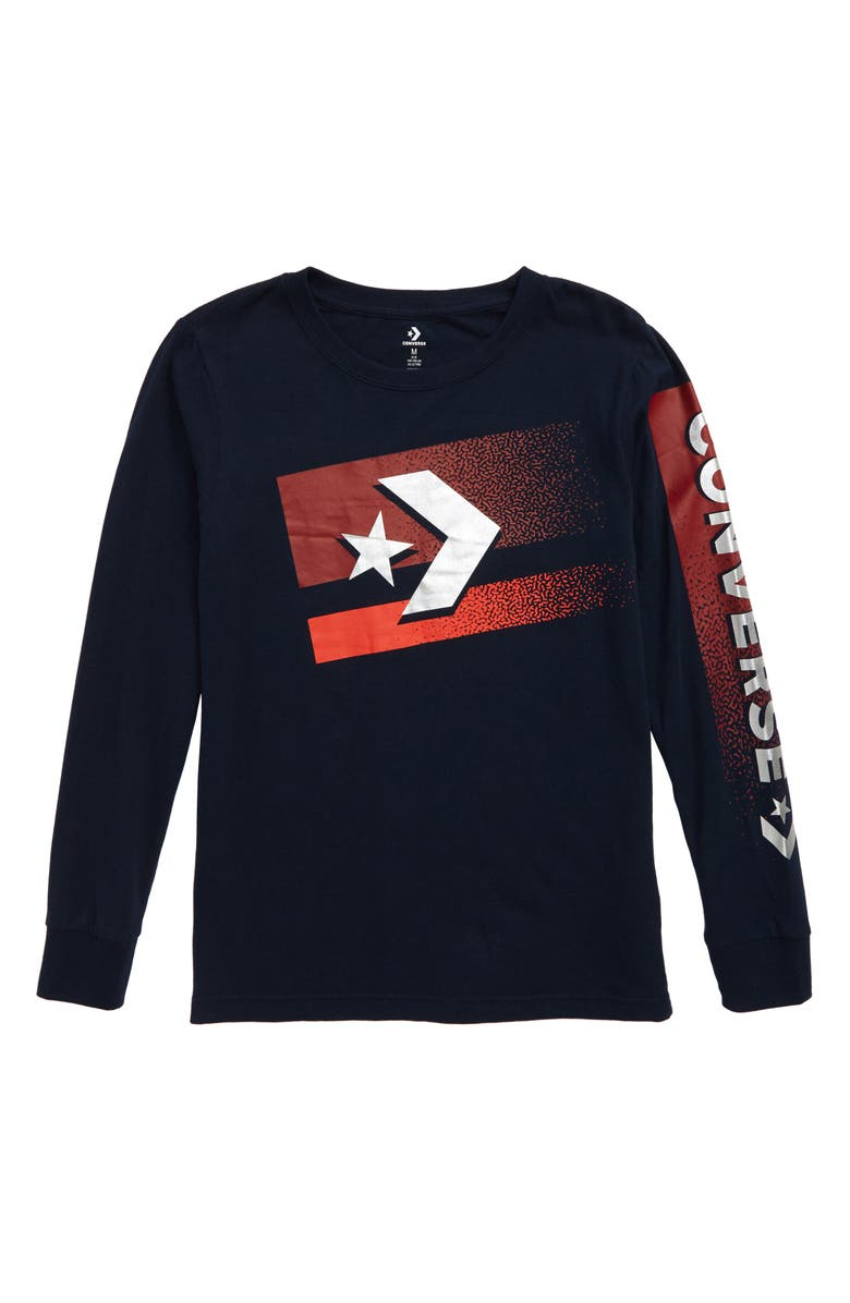 CONVERSE Bitmap Star Chevron T-Shirt, Main, color, 418