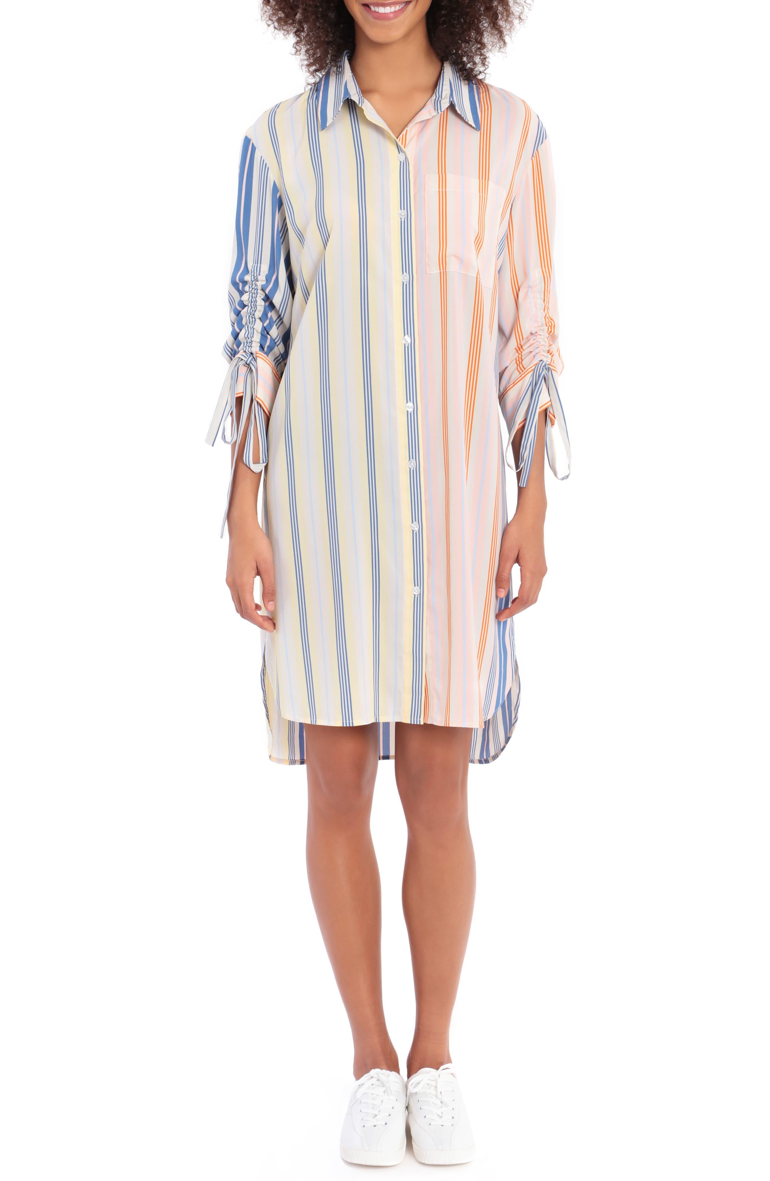 Long Sleeve Stripe Shirtdress
