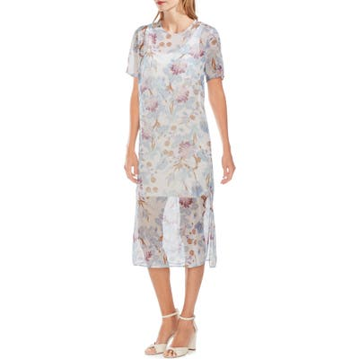 Vince Camuto Poetic Blooms Overlay Midi Dress, Blue