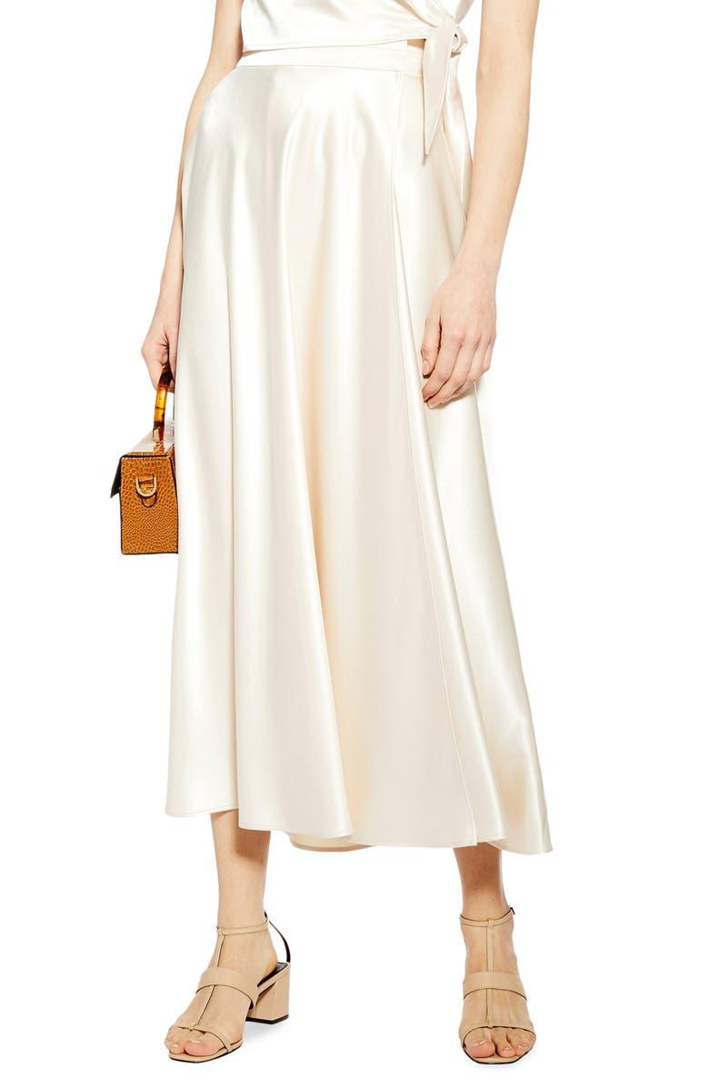 TOPSHOP Satin Midi Skirt, Main, color, IVORY