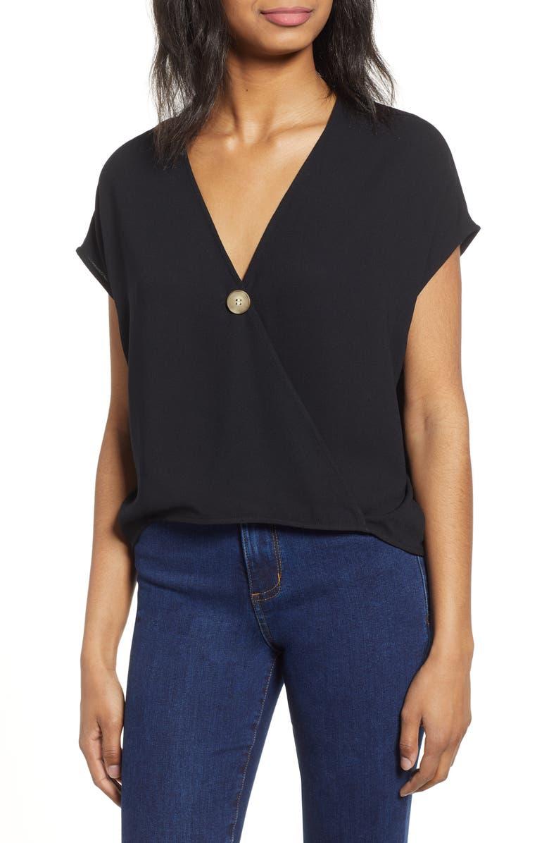 BP. Button Surplice Top, Main, color, BLACK