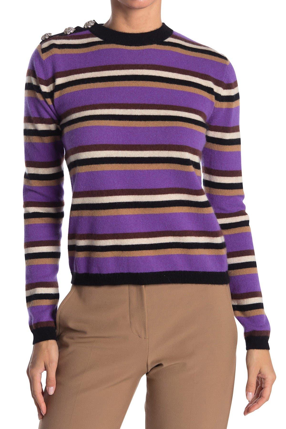 Image of GANNI Cashmere Knit Multicolor Button Pullover