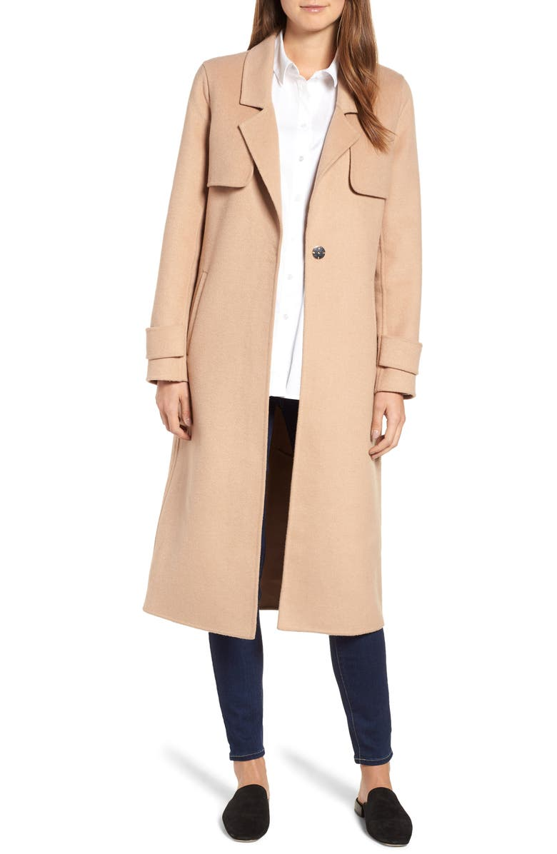 KENNETH COLE NEW YORK Double Face Wool Blend Long Coat, Main, color, 252