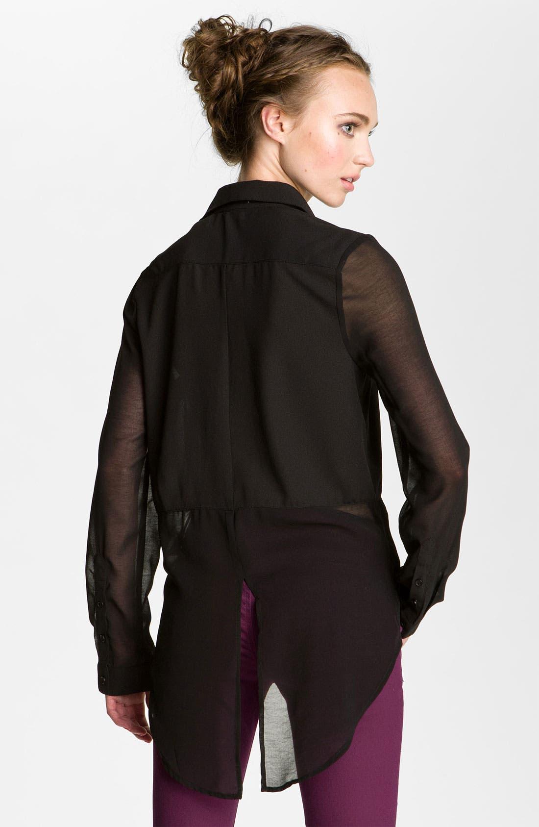 ,                             Lush Sheer Panel High/Low Shirt,                             Alternate thumbnail 2, color,                             001