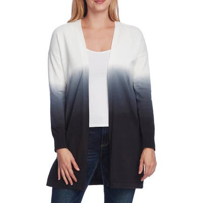 Vince Camuto Ombre Cotton Cardigan, Black