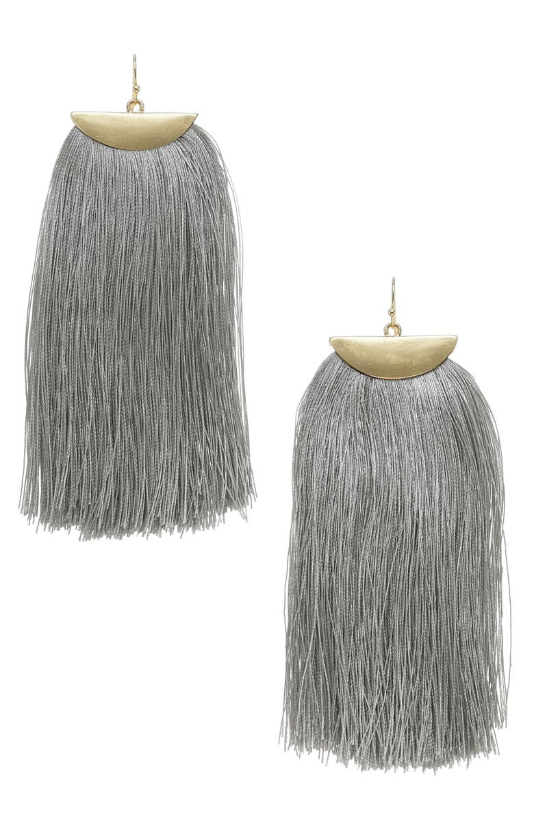 STELLA + RUBY Fringe Tassel Earrings, Main, color, 020