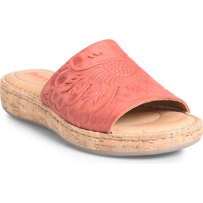 B?rn Fish Lake Tooled Slide Sandal, Red