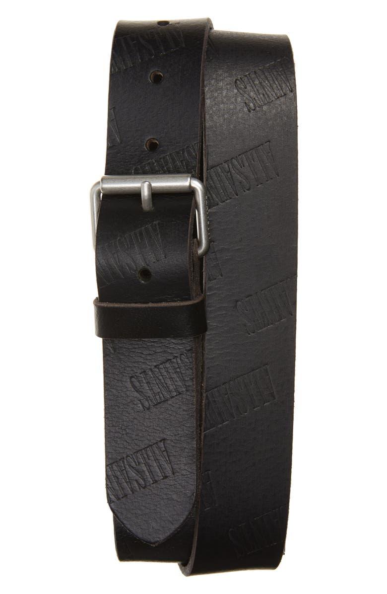ALLSAINTS Embossed Leather Belt, Main, color, BLACK
