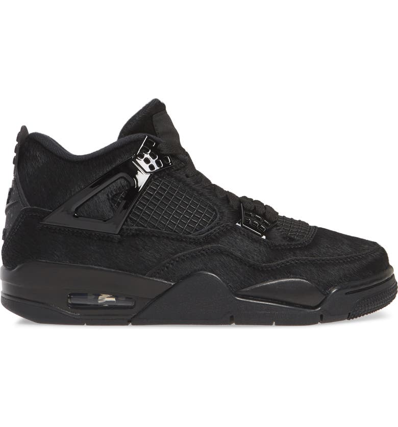 NIKE x Olivia Kim Air Jordan 4 Retro Genuine Calf Hair High Top Sneaker, Main, color, BLACK/ BLACK-BLACK