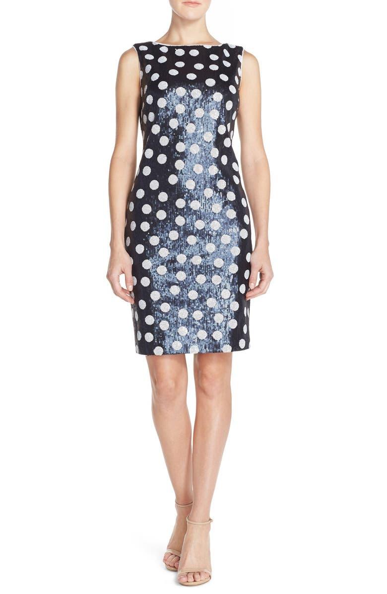 MAIA Polka Dot Sequin Sheath Dress, Main, color, 490