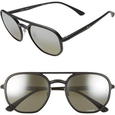 Ray-Ban 5m Chromance Polarized Aviator Sunglasses - Black/ Grey Grey Grad Polar