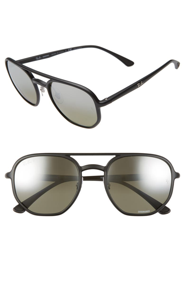 RAY-BAN 53mm Chromance Polarized Aviator Sunglasses, Main, color, BLACK/ GREY GREY GRAD POLAR