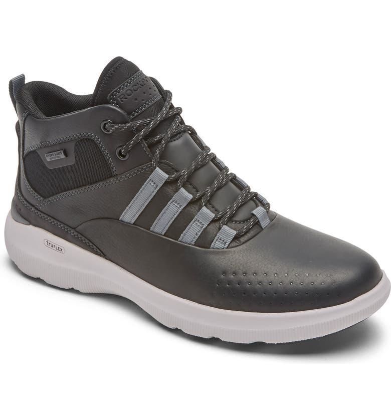 ROCKPORT truFLEX Hybrid High Waterproof Sneaker, Main, color, BLACK LEATHER