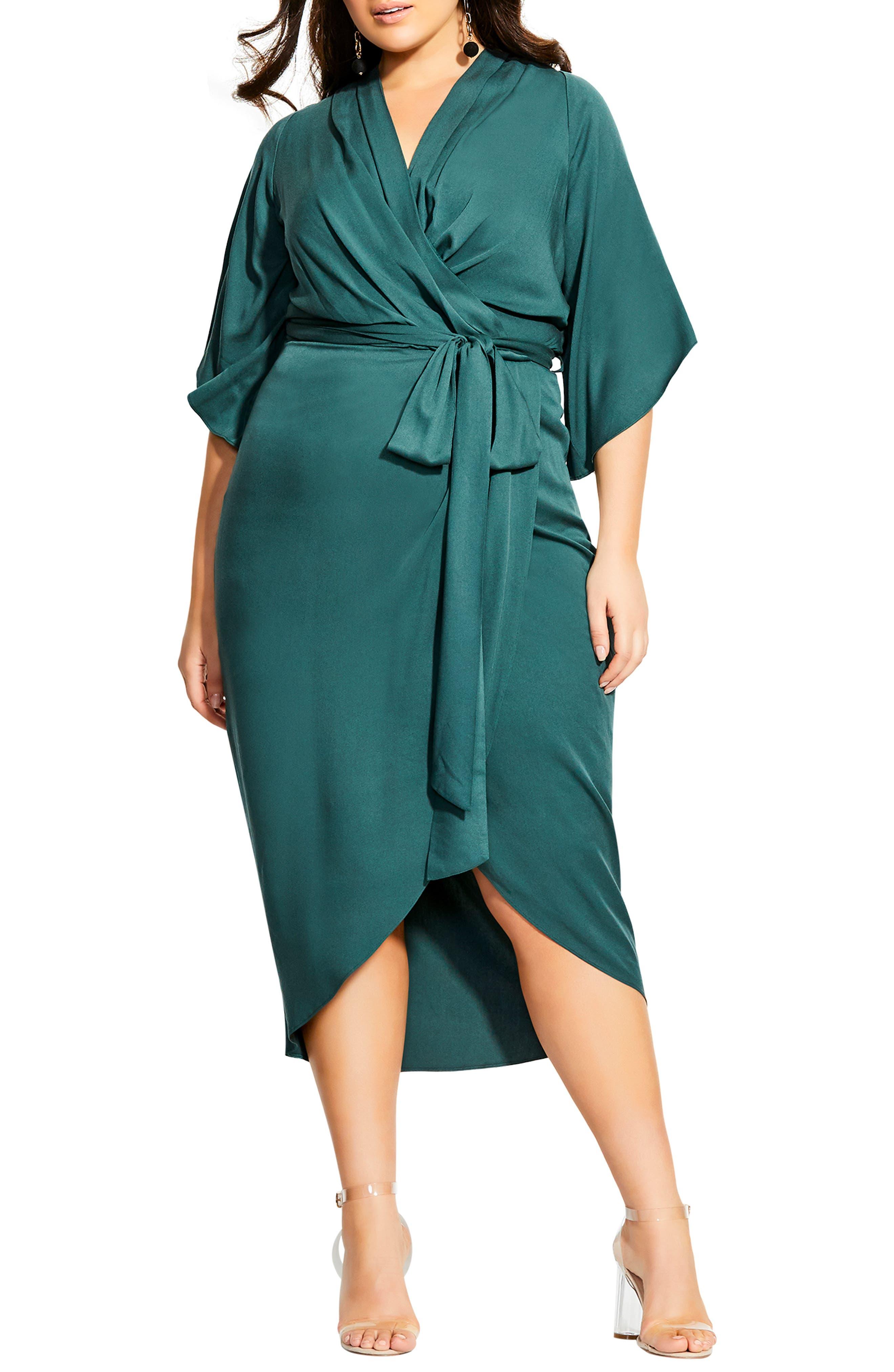 70s Dresses – Disco Dress, Hippie Dress, Wrap Dress Plus Size Womens City Chic Faux Wrap Dress Size X-Small - Green $109.00 AT vintagedancer.com