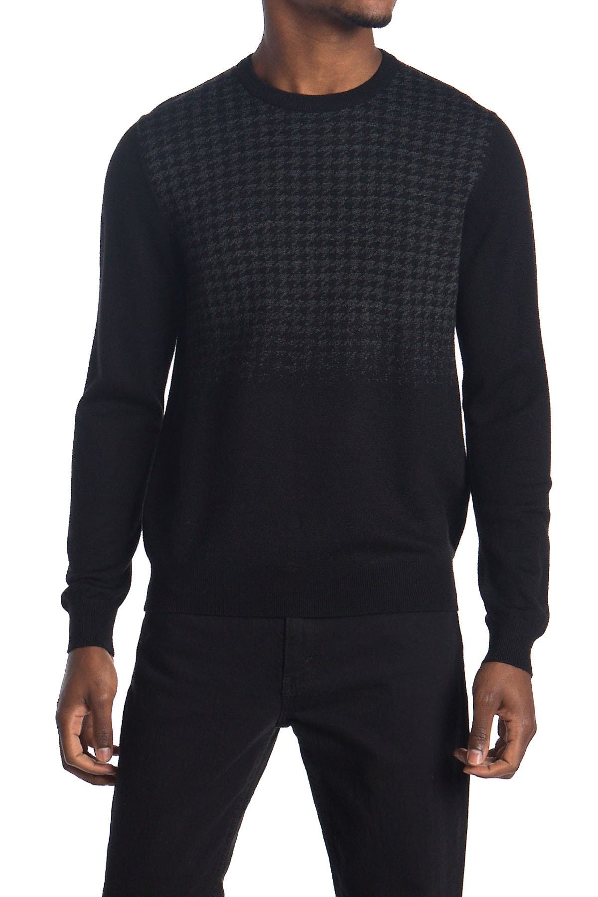 Image of Stewart of Scotland Degrade Houndstooth Merino Wool Sweater