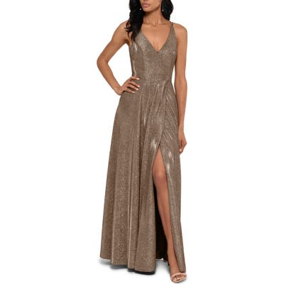 Xscape Glitter Slit A-Line Gown, Metallic