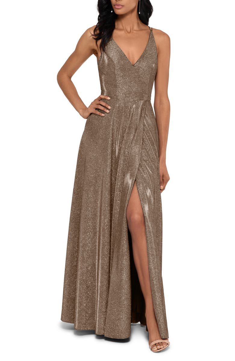 XSCAPE Glitter Slit A-Line Gown, Main, color, BLACK/ GOLD