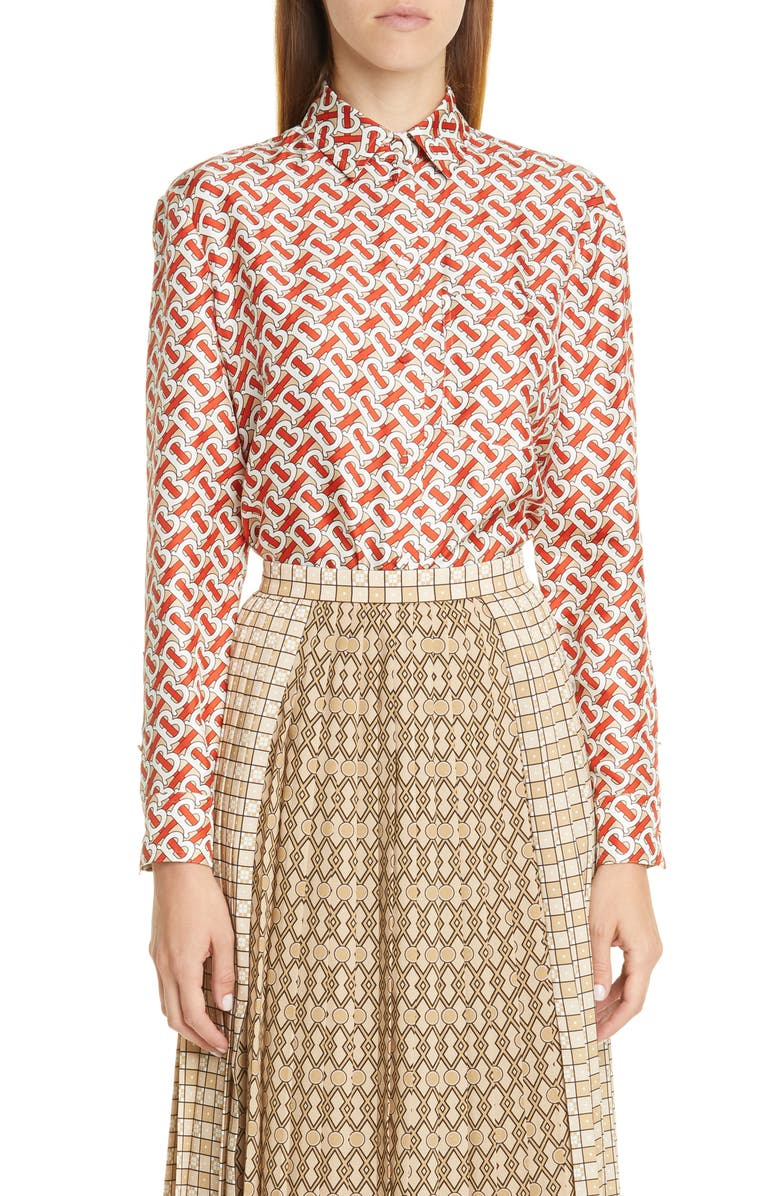 BURBERRY Piper Pleated Contrast Print Midi Skirt, Main, color, 200