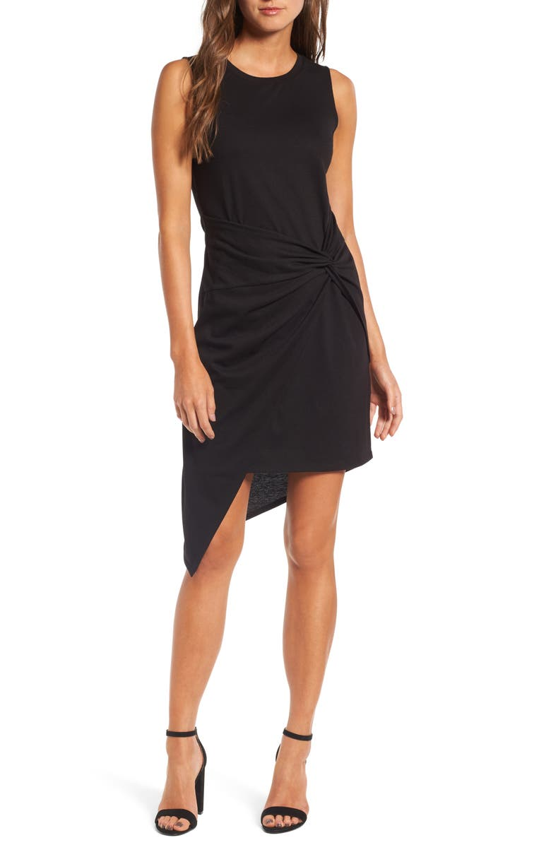 CHELSEA28 Twist Front Dress, Main, color, BLACK