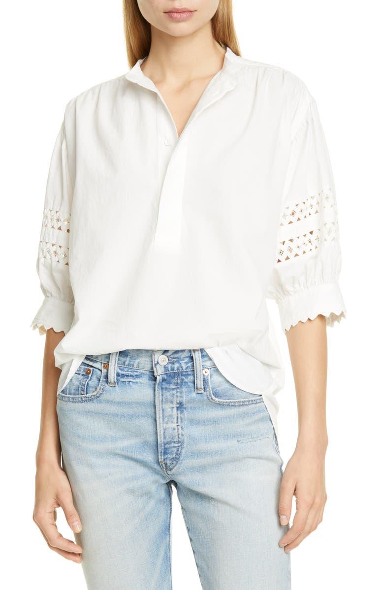 POLO RALPH LAUREN Lace Inset Shirt, Main, color, WHITE