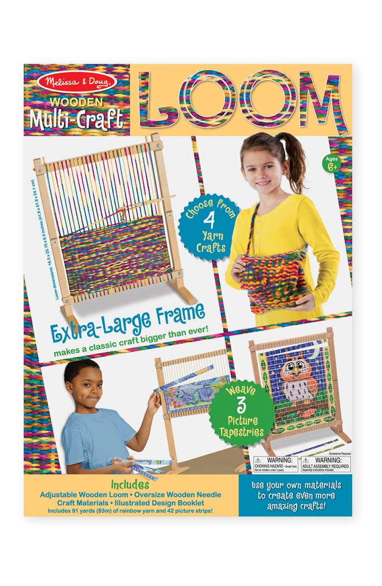 MELISSA & DOUG Let's Play Wooden Loom & Fleece Blanket Crafting Set, Main, color, MULTI