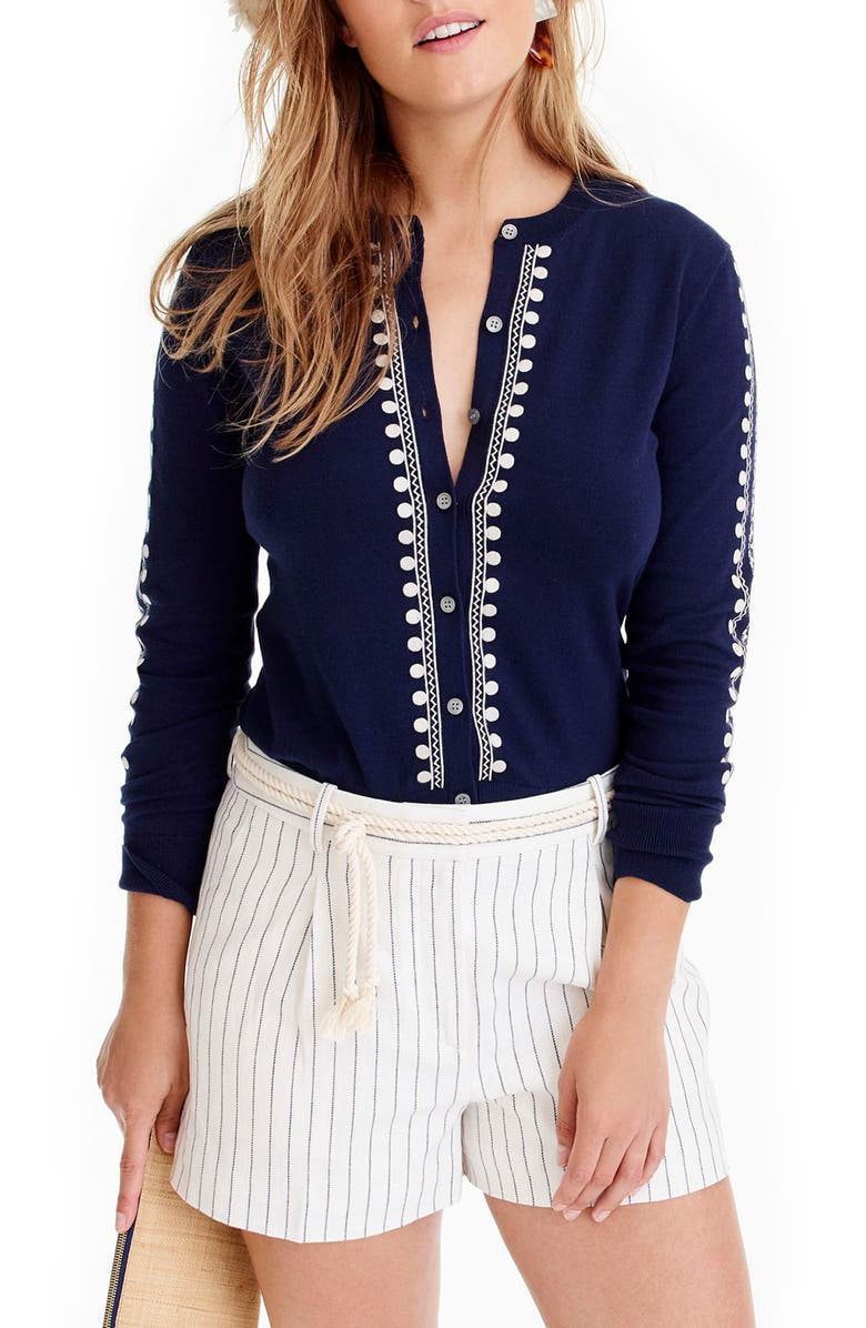 J.CREW Jackie Embroidered Eyelet Sweater, Main, color, 400