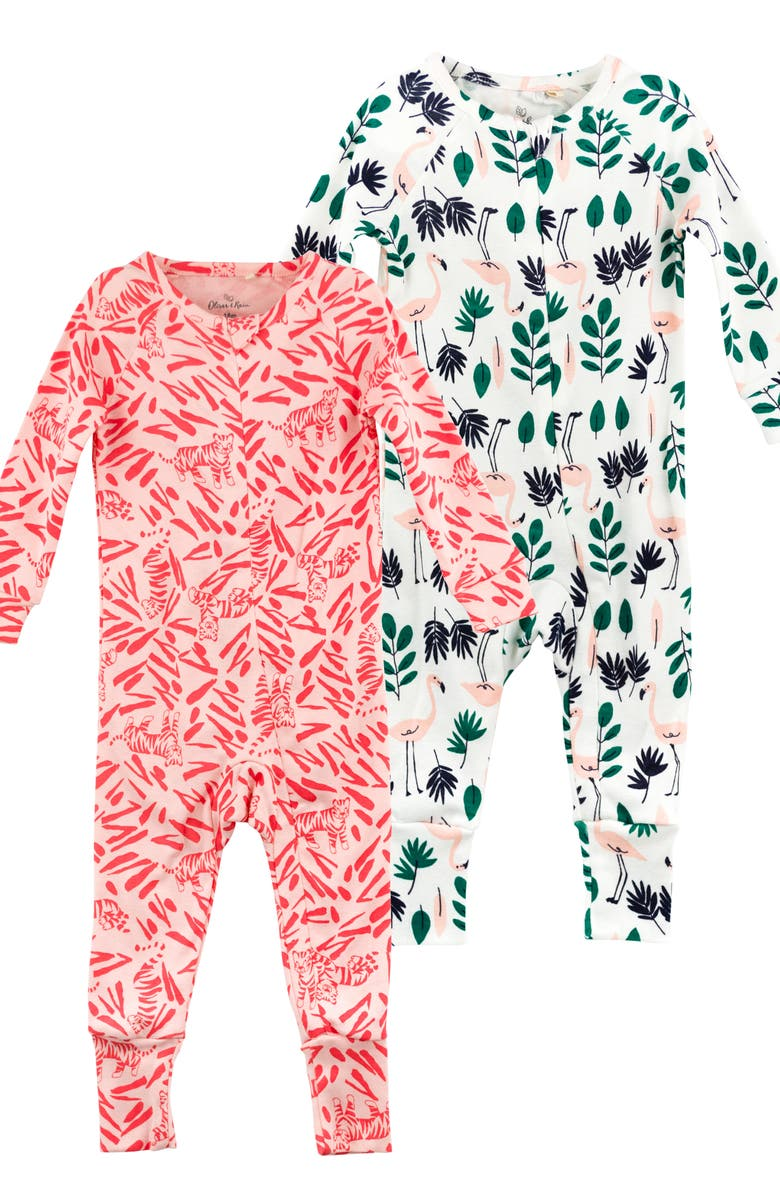 2 Pack Organic Cotton Fitted One Piece Pajamas by Oliver & Rain