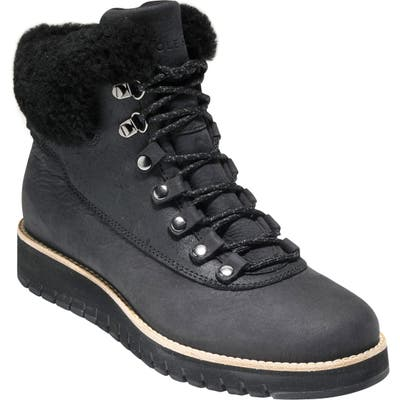 Cole Haan Grandexpl?re Genuine Shearling Trim Waterproof Hiker Boot B - Black