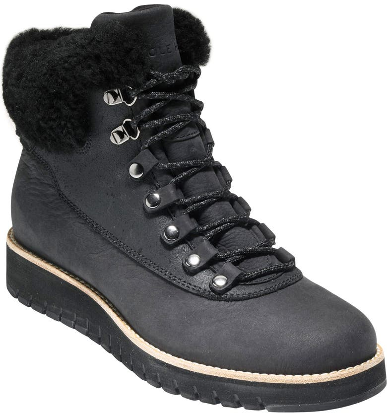 COLE HAAN GrandExpløre Genuine Shearling Trim Waterproof Hiker Boot, Main, color, BLACK LEATHER