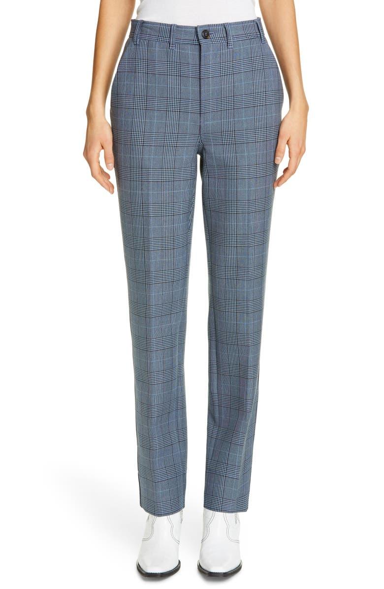 GANNI Plaid Suiting Pants, Main, color, 400