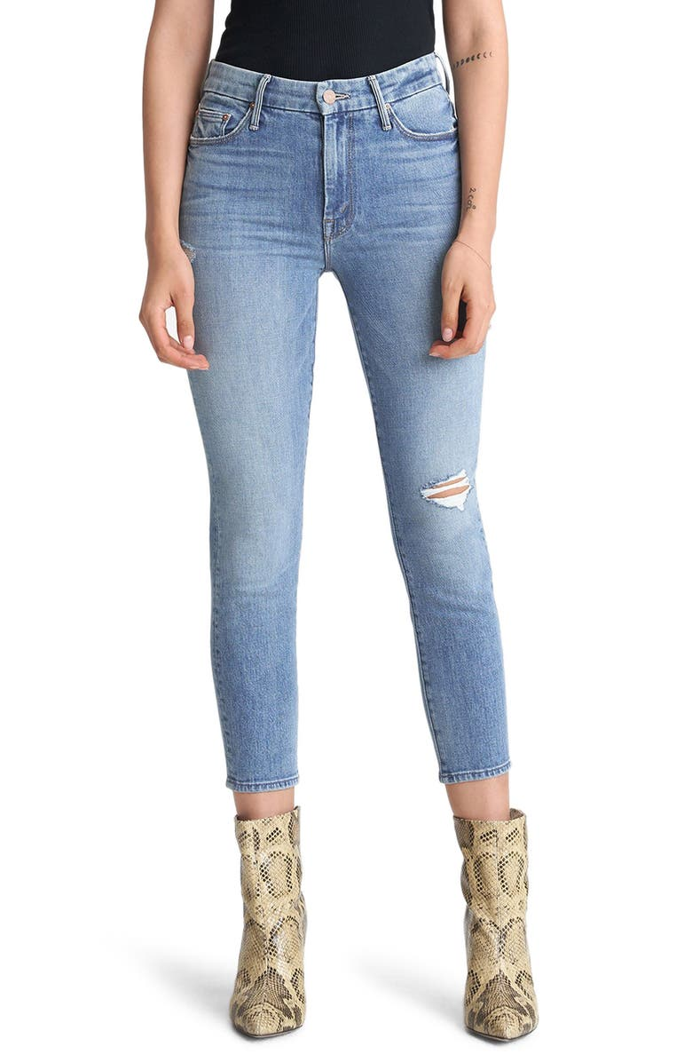 MOTHER The Looker Ripped High Waist Crop Skinny Jeans, Main, color, LETS KICK IT