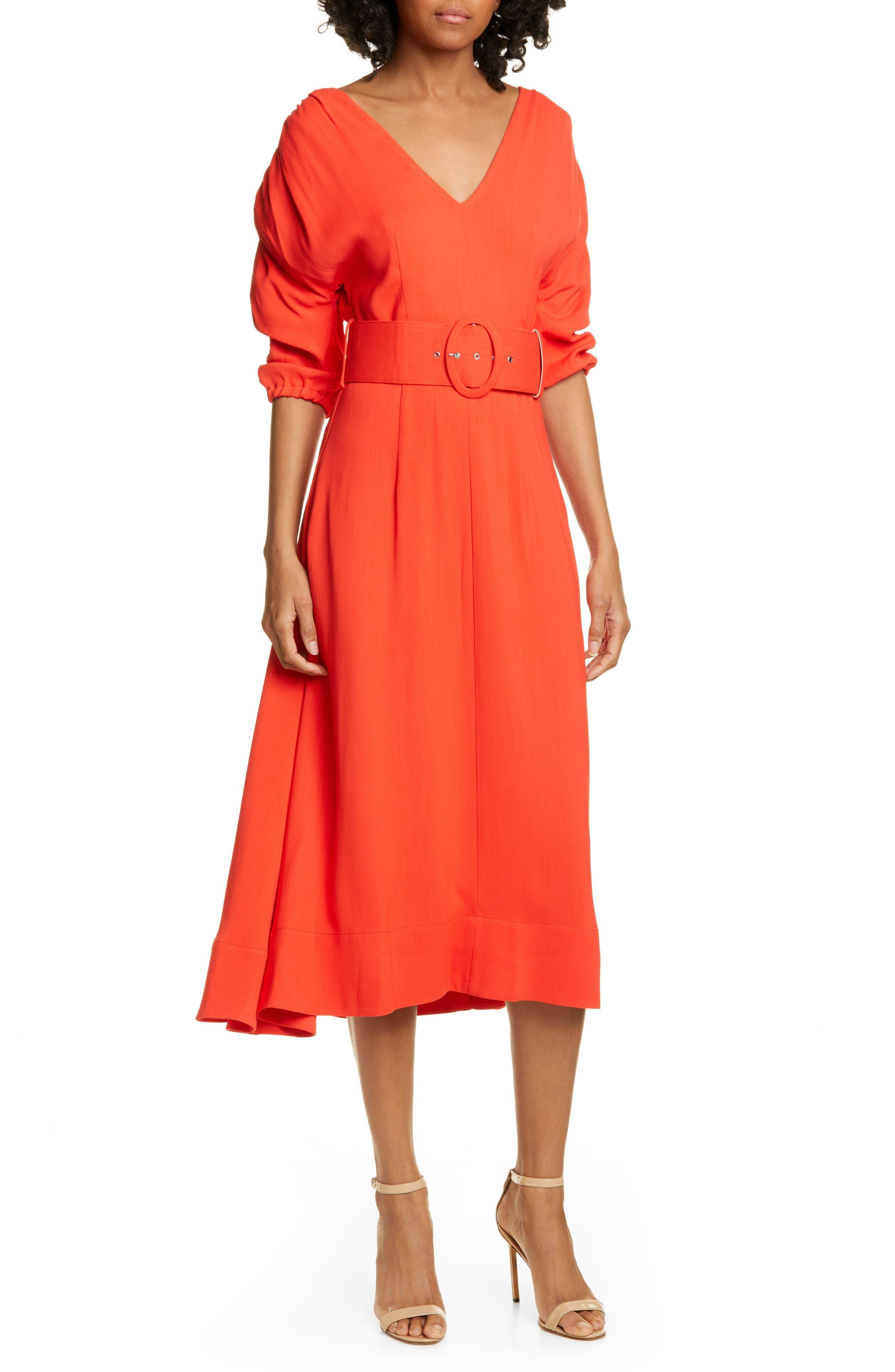 Nicholas Gathered Sleeve Midi Dress, Red