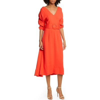 Nicholas Gathered Sleeve Midi Dress, Red