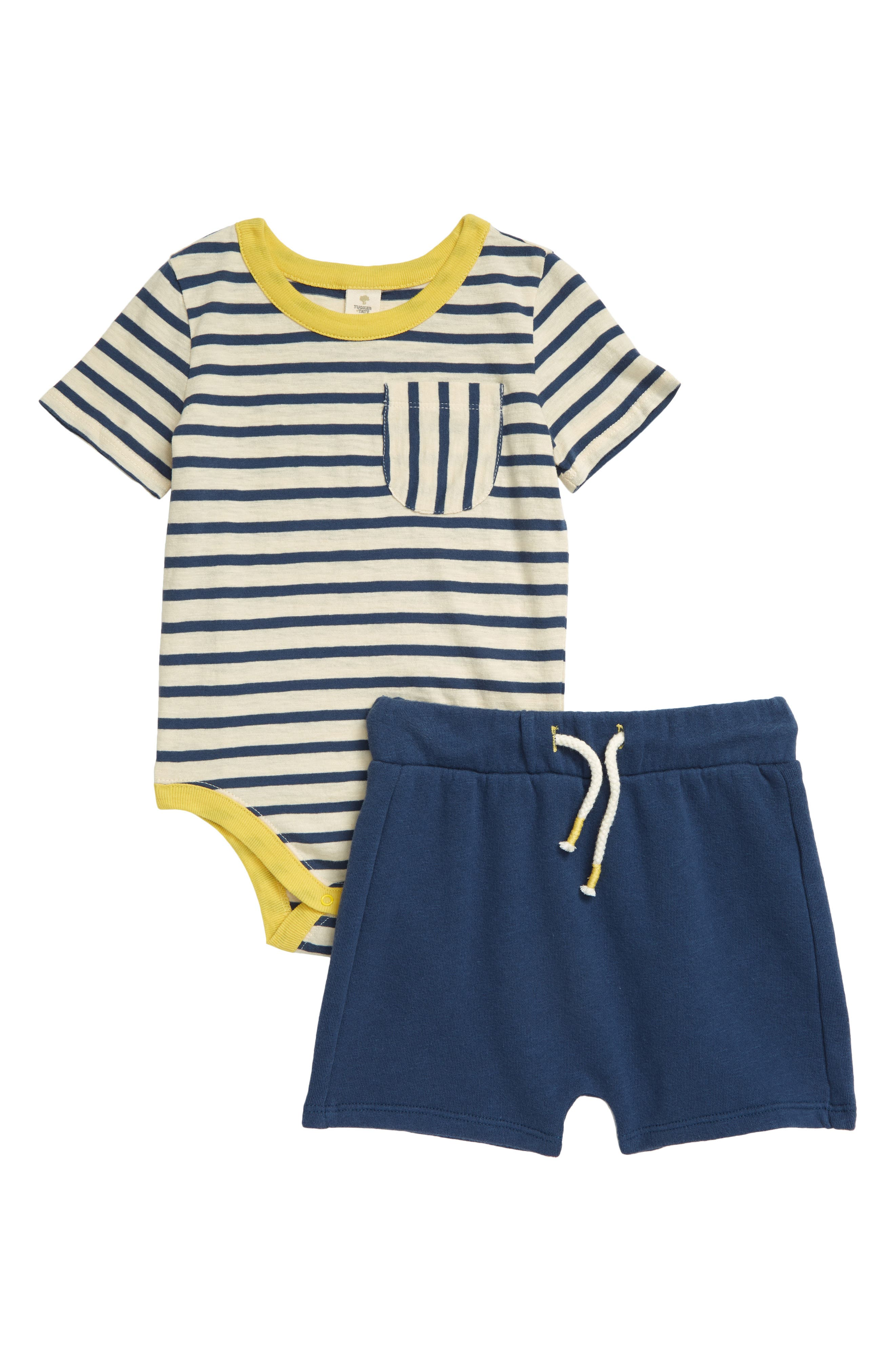 This cute and cuddly set features a striped, pocketed bodysuit and comfy drawstring-waist shorts. Style Name: Tucker + Tate Ringer Bodysuit & Shorts Set (Baby). Style Number: 6002160. Available in stores.