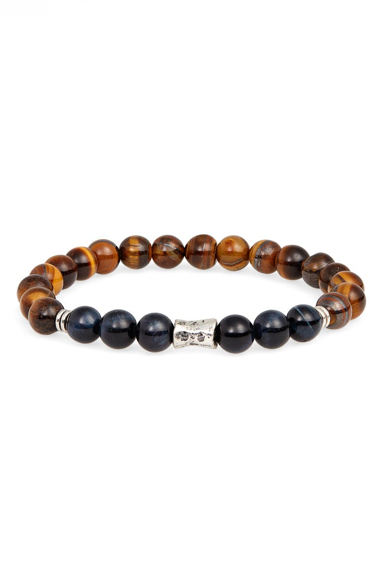 NORDSTROM MEN'S SHOP Agate Bead Bracelet, Main, color, BROWN