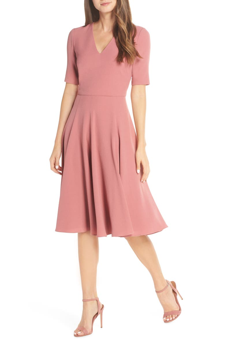 GAL MEETS GLAM COLLECTION Edith City Crepe Fit & Flare Midi Dress, Main, color, UPTOWN PINK