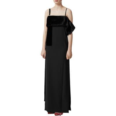 Burberry Faux Fur Detail Silk Gown, Black